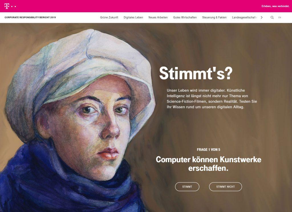 Gemaltes Öl-Porträt einer Frau mit Hut, rechts danebe steht Text.